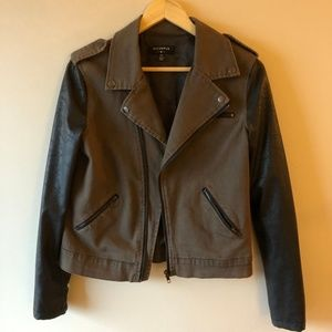 Denim and Leather Motorcycle Jacket